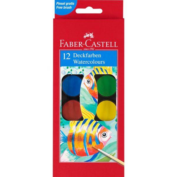 Acuarele 12 culori 30mm Pensula Faber-Castell