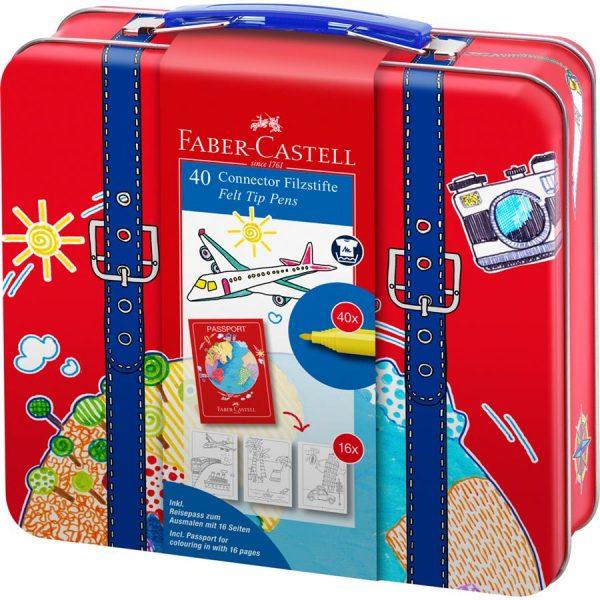 Carioci Connector Faber-Castell, 40 culori valiza