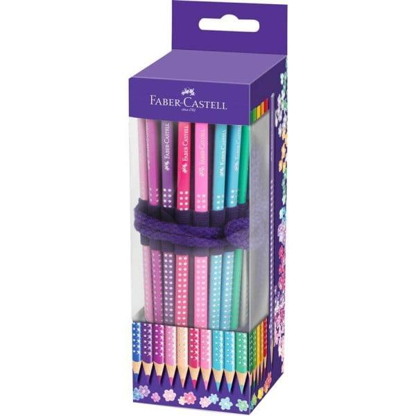 Rollup 20 Creioane Colorate Sparkle cu 1 Creion Grafit si Accesorii Faber-Castell