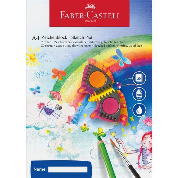 Bloc desen A4, 20 file, Acuarela Faber-Castell