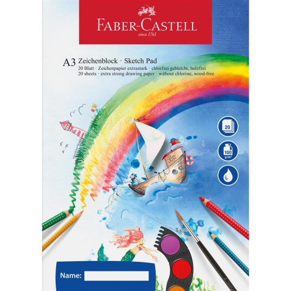 Bloc desen A3, 20 file, Acuarela Faber-Castell