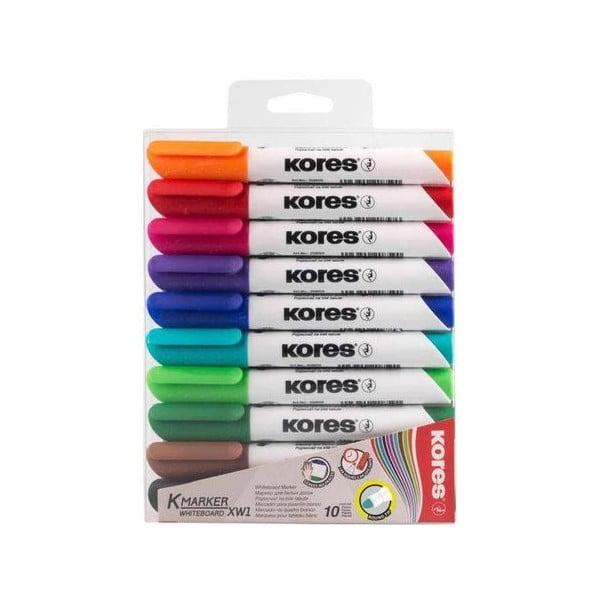 Marker whiteboard 3mm KORES, 10 buc/set