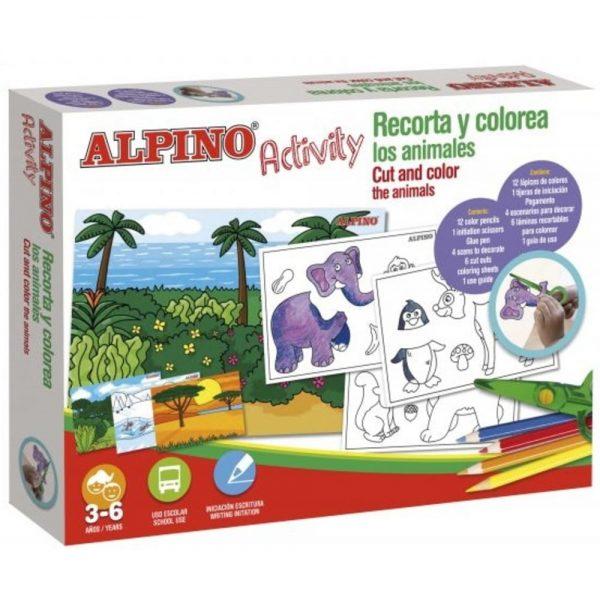Cutie cu articole creative pentru copii, ALPINO Activity - Cut and color the animals