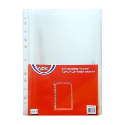 Folie protectie cu burduf A4, 25 buc/set, NOKI - cristal