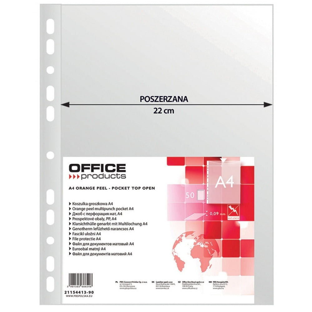 Folie protectie A4, 90 microni, 50/set, Office Products Maxi