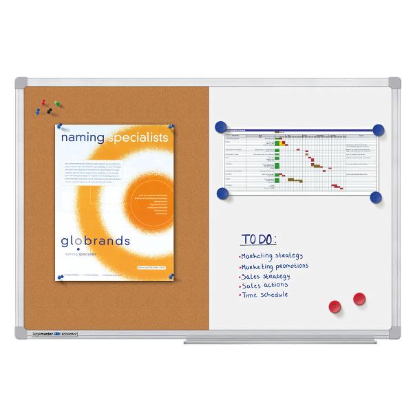 Tabla combiboard 90 x 120 cm, rama aluminiu, Legamaster Economy