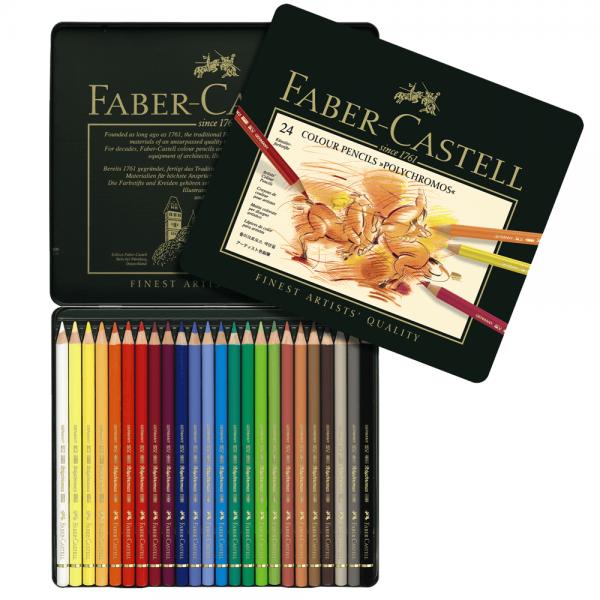 Creioane colorate Polychromos 24 culori/cutie, Faber-Castell