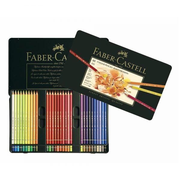 Creioane colorate Polychromos FABER-CASTELL, 60 culori/cutie