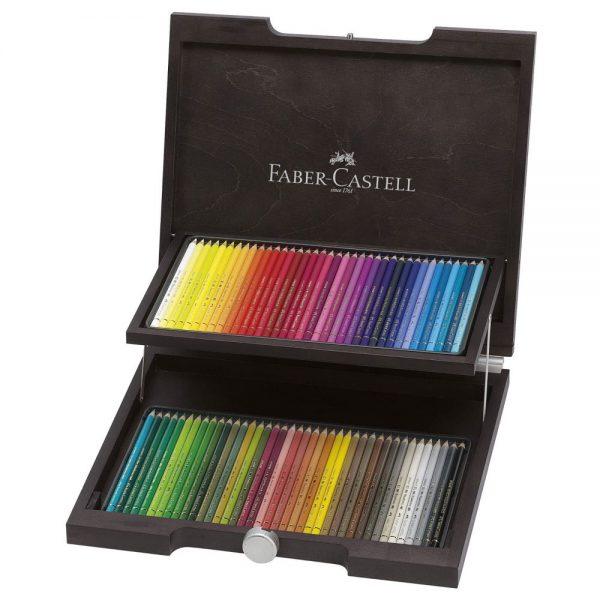 Creioane colorate FABER-CASTELL Polychromos, 72 buc/set, cutie lemn