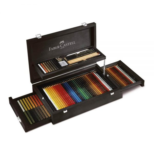 Creioane colorate si accesorii FABER-CASTELL Art and Graphic 126 set, cutie lemn
