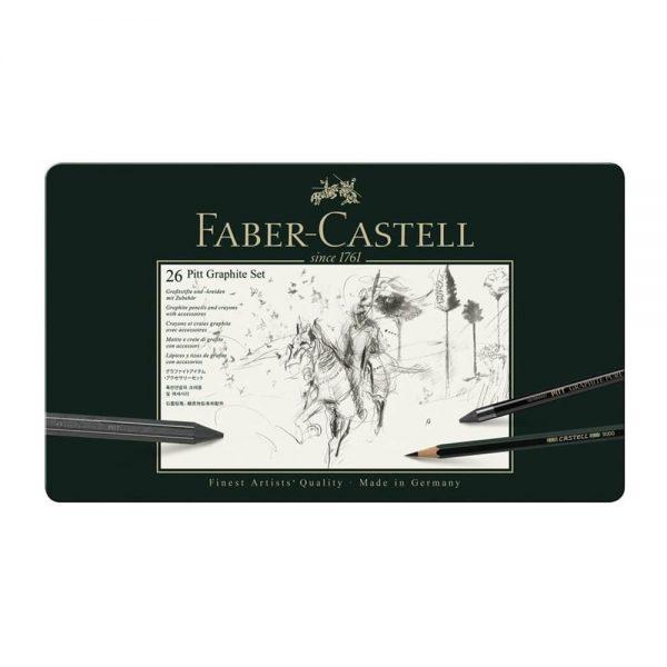 Set desen FABER-CASTELL Pitt Monochrome Carbune 26 piese