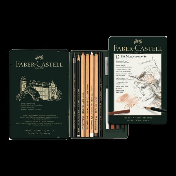 Set desen Pitt Monochrome 12 buc/set, Faber-Castell FC112975
