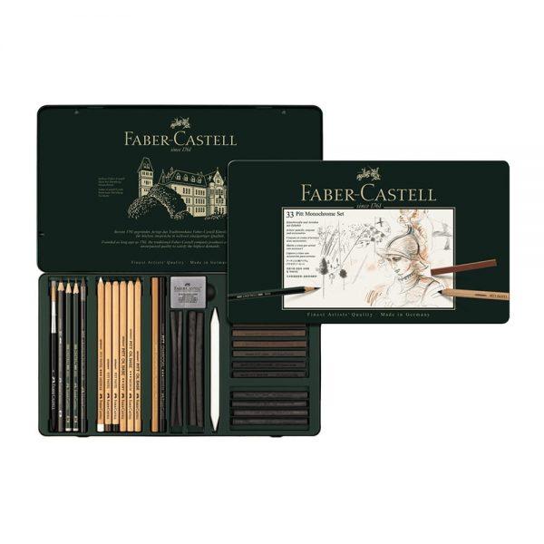 Set desen Pitt Monochrome Grafit+Carbune+Pastel 33 piese Faber-Castell