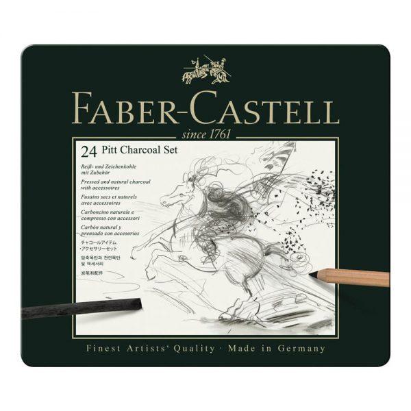 Set desen FABER-CASTELL Pitt Monochrome Carbune 24 buc/set, FC112978
