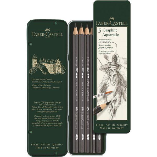 Creion grafit Aquarelle Faber-Castell, 5 buc/set
