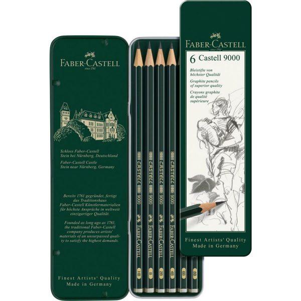 Creion Grafit Castell 9000,  6 buc/set, Faber-Castell