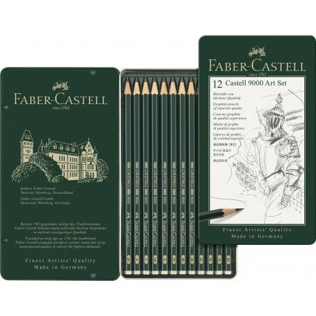 Creione Grafit Arta, Castell 9000, 12 buc/set, Faber-Castell