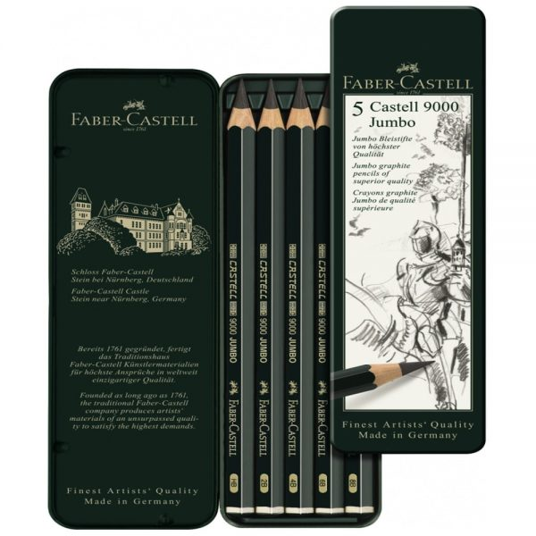 Creion Grafit Castell 9000 Jumbo, 5 buc/set, Faber-Castell