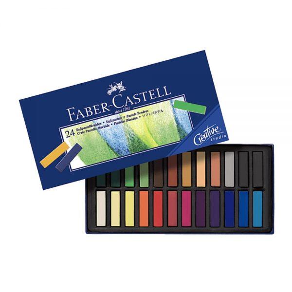 Creioane Pastel Soft Mini, 24 culori/cutie, FABER-CASTELL
