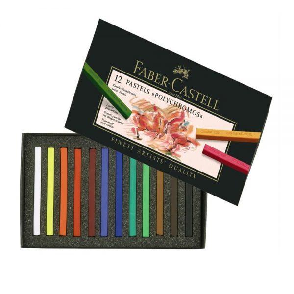 Creioane pastel Polychromos Faber-Castell, 12 culori/cutie