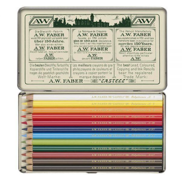 Creioane colorate Polychromos FABER-CASTELL 111 ani, 12 culori/cutie