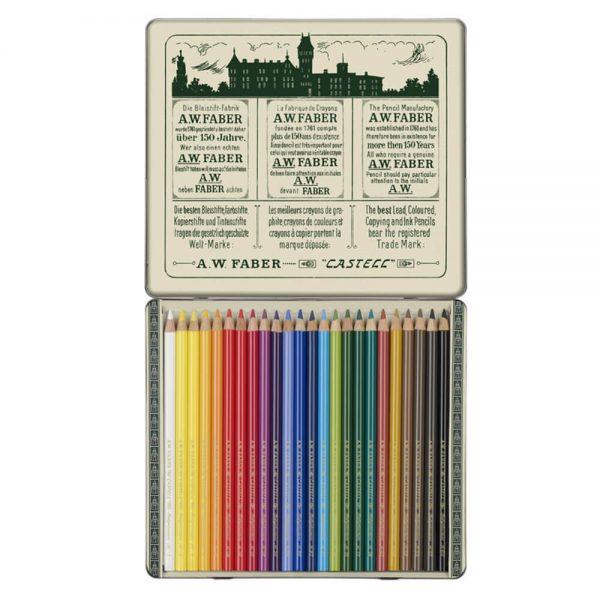 Creioane colorate Polychromos Faber-Castell, 111 ani, 24 culori/cutie
