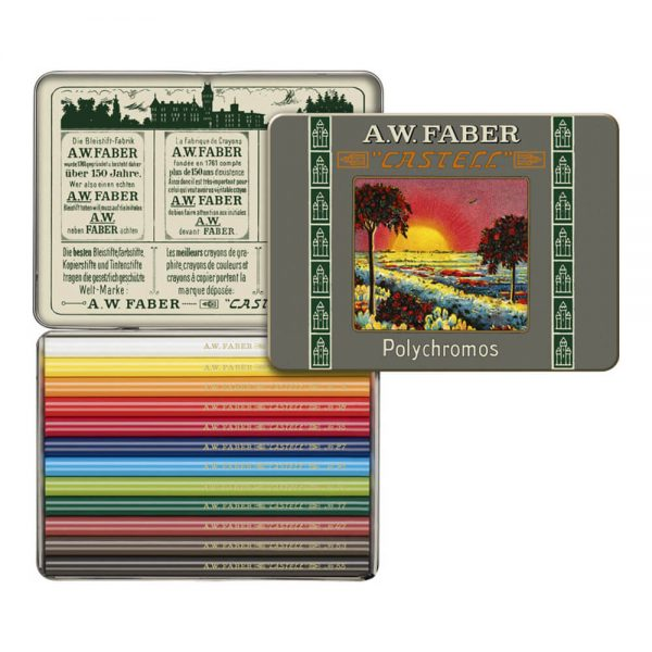Creioane colorate scurte Polychromos FABER-CASTELL 111 ani, 12 culori/cutie