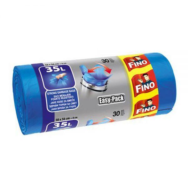 Saci menajeri cu manere FINO Easy-Pack 35 L, 30 buc/rola