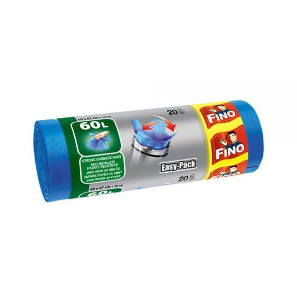 Saci menajeri cu manere FINO Easy-Pack, 60 L, 20 buc/rola