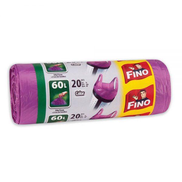 Saci menajeri cu manere FINO Color, 60 L, 20 buc/rola
