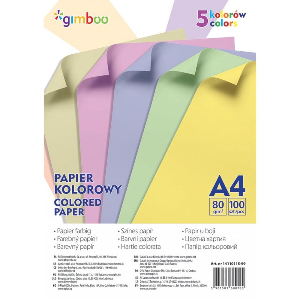 Hartie color 100 coli/top, GIMBOO - culori pastel asortate
