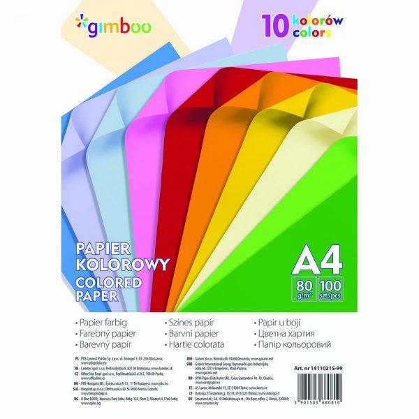 Hartie color 100 coli/top, GIMBOO - culori neon asortate
