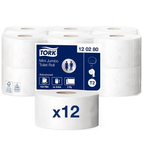 Hartie igienica alba mini jumbo, 2 straturi, 170m, 12role/bax Tork Advanced 120280
