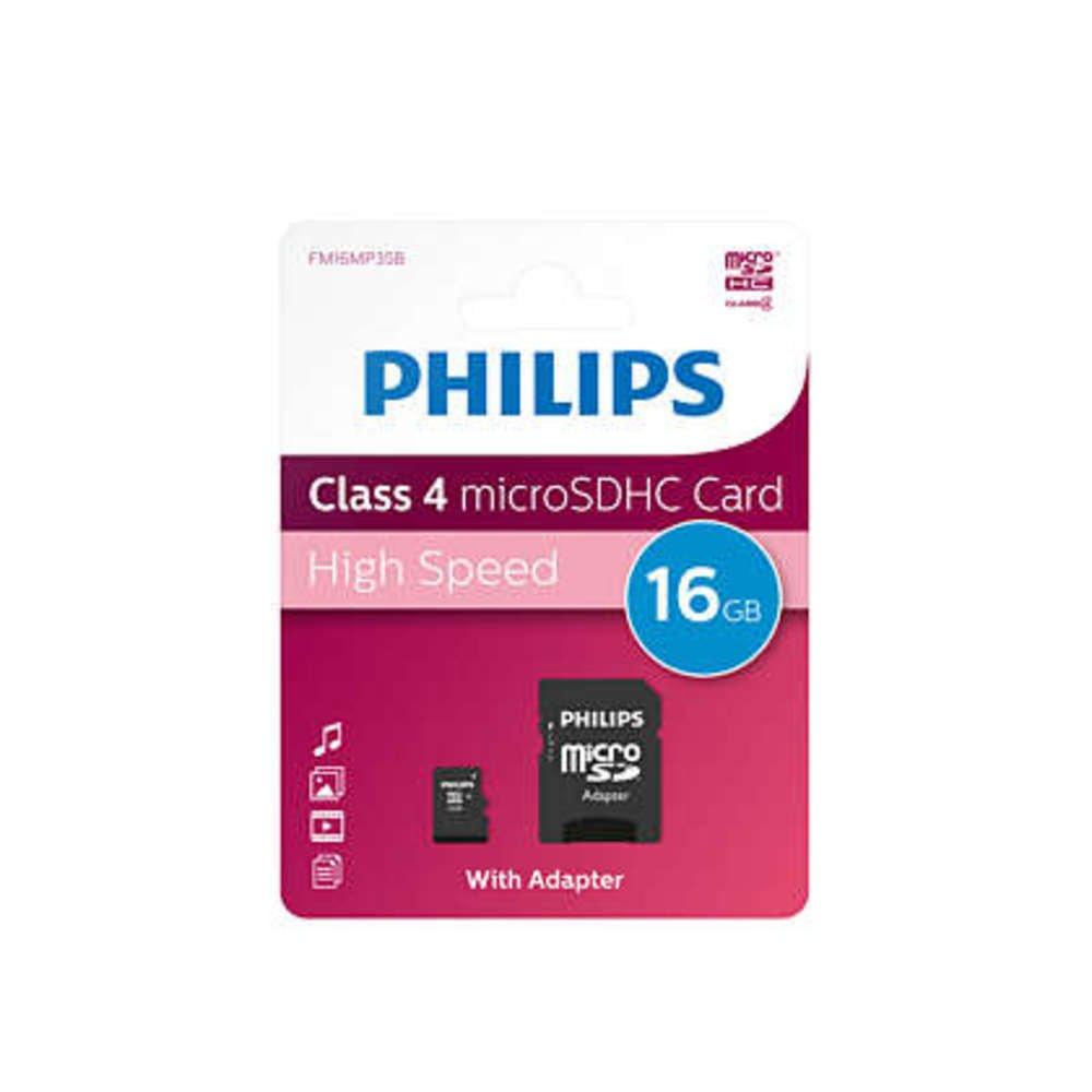 Card memorie Micro SDHC cu adaptor SD, clasa 10, PHILIPS - 16GB