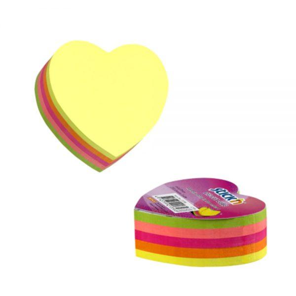 Notes adeziv cub color, 64x67 mm, 250 file, Stick'n - 5 culori fluorescente