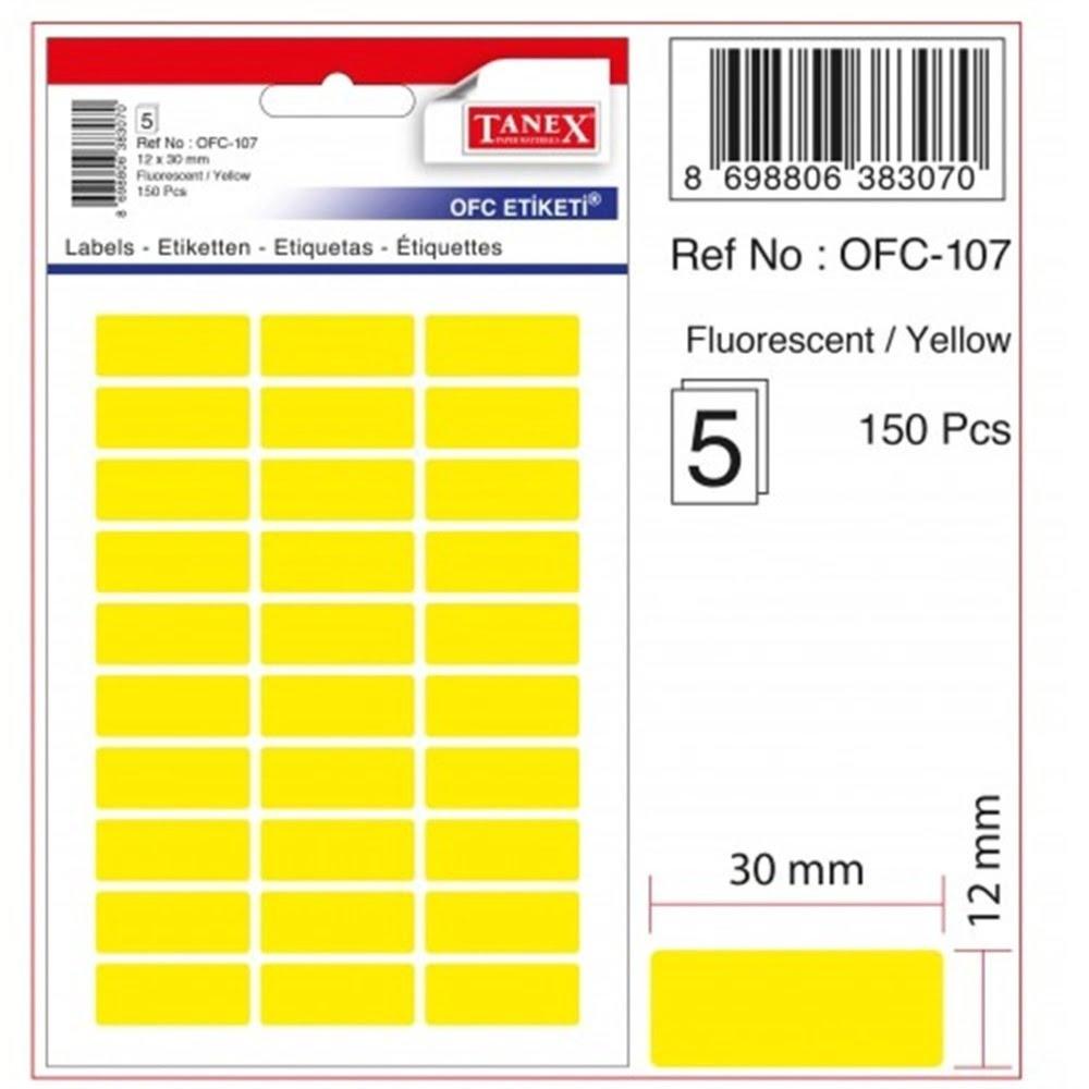 Etichete autoadezive color, 12 x 30 mm, 150 buc/set, TANEX