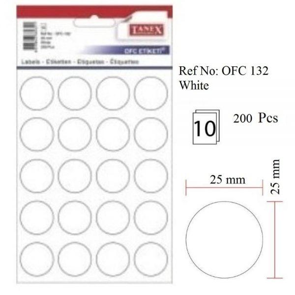 Etichete rotunde autoadezive albe, D25 mm, 200 buc/set, Tanex