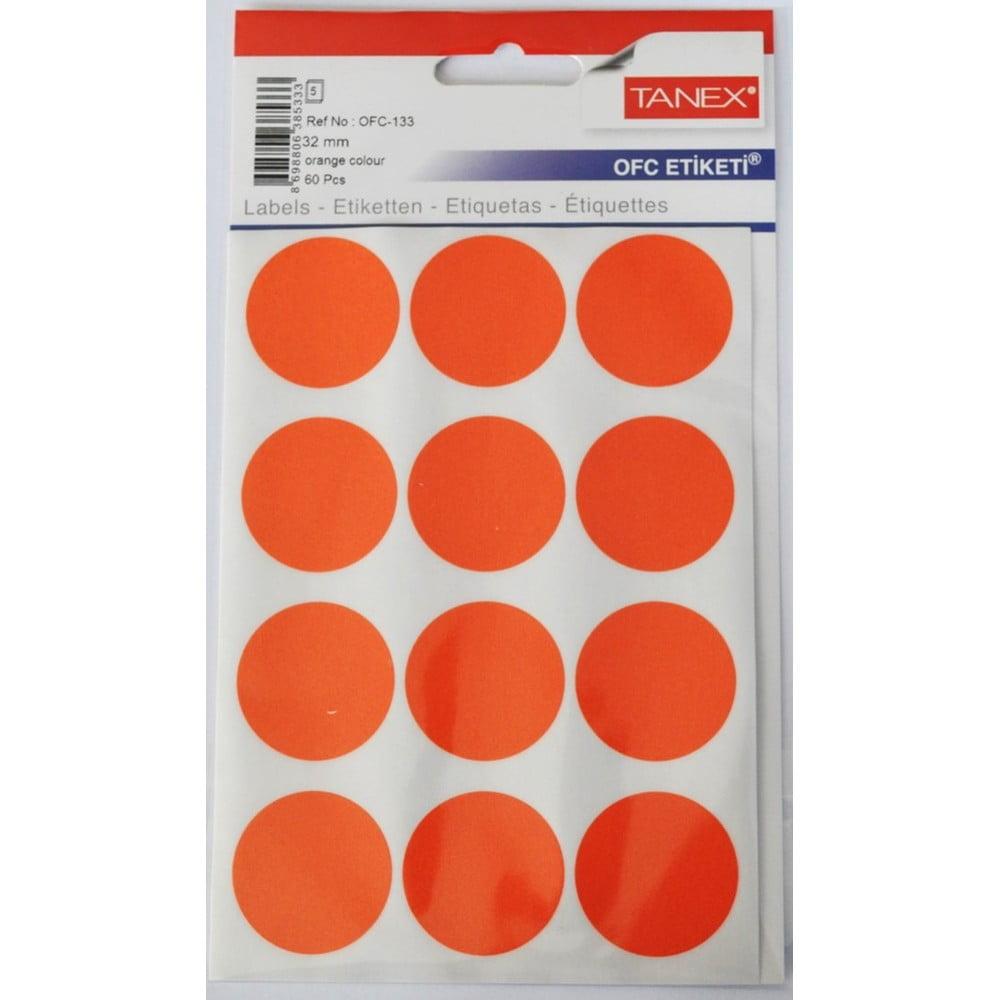 Etichete autoadezive color D32 mm, 60 buc/set, TANEX