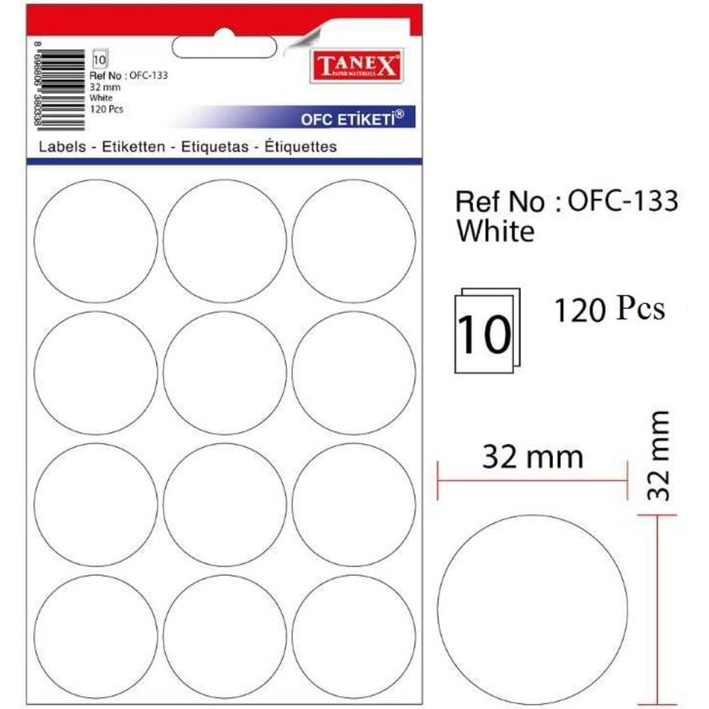 Etichete rotunde autoadezive, D32 mm, 120 buc/set, Tanex