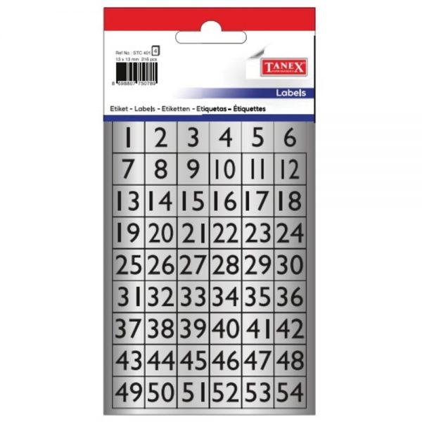 Etichete cu cifre 1-54, 13x13 mm, 114buc/set, TANEX