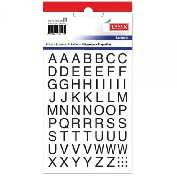 Etichete cu litere A-Z, 124buc/set, TANEX