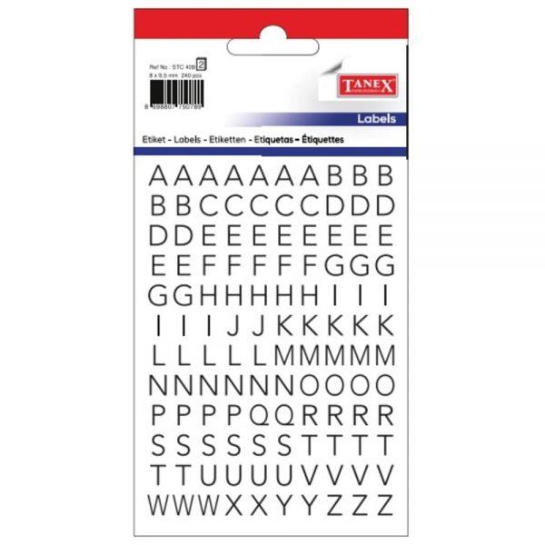 Etichete cu litere A-Z, 8 x 9.5 mm, 240buc/set, TANEX