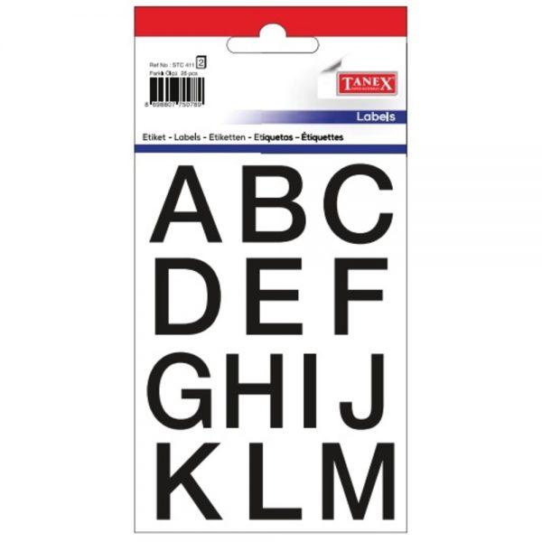 Etichete cu litere A-Z, 26buc/set, TANEX