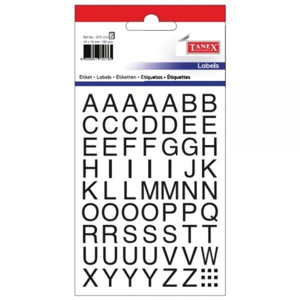 Etichete cu litere A-Z, 10 x 10 mm, 162buc/set, TANEX