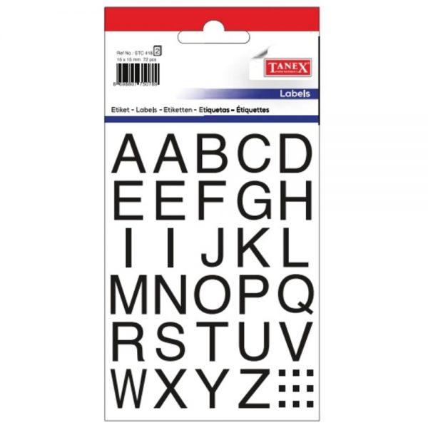 Etichete cu litere A-Z, 15 x 15 mm, 72buc/set, TANEX