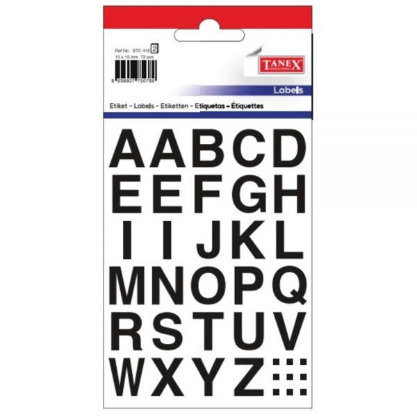 Etichete cu litere bold A-Z, 15 x 15 mm, 72buc/set, TANEX