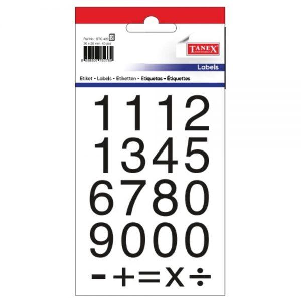 Etichete cu cifre 0-9, 20x20 mm, 40buc/set, TANEX