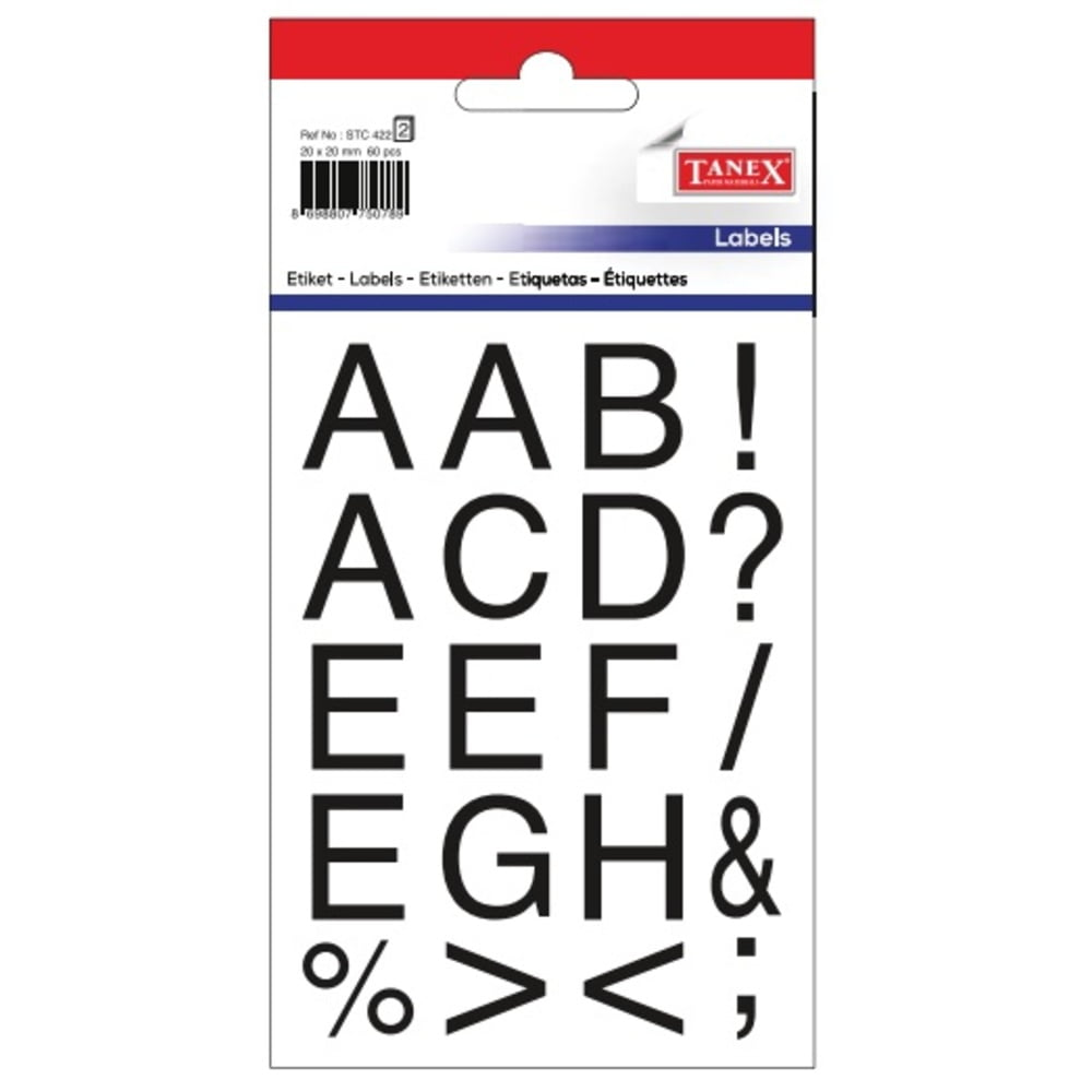 Etichete cu litere + senme ortografie, 20 x 20 mm, 61buc/set, TANEX