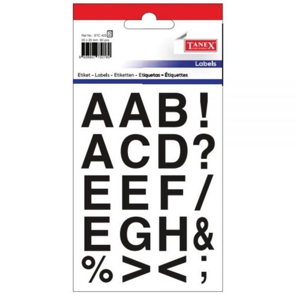 Etichete cu litere + senme ortografie, 20 x 20 mm, 61buc/set, TANEX - bold