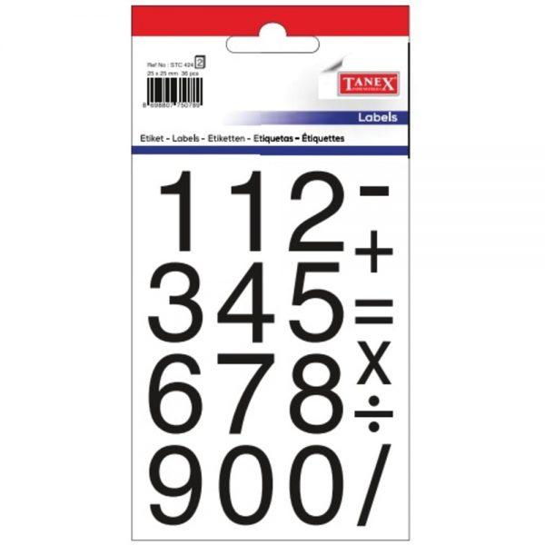 Etichete cu cifre 0-9, 25x25 mm, 36buc/set, TANEX